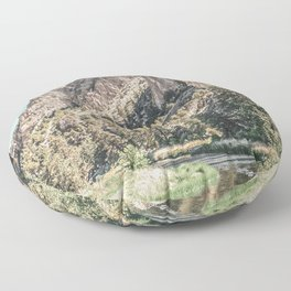 Vintage Smith Rock State Park // River and Rocks Scenic Hiking Landscape Photograph Floor Pillow
