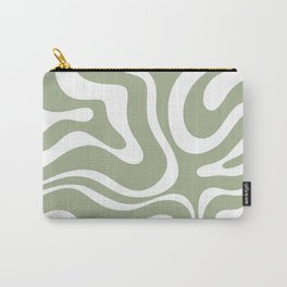 Modern Retro Liquid Swirl Abstract Pattern in Muted Sage Green and White Carry-All Pouch