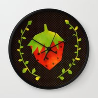 strawberry Wall Clocks featuring Strawberry by Strawberringo