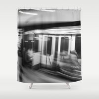 subway Shower Curtains featuring Subway Blur  by Karalena Davis