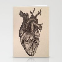anatomical heart Stationery Cards featuring Anatomical Heart by Redmonks