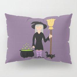 Cute Witch Girl And A Black Cat Halloween Design Pillow Sham