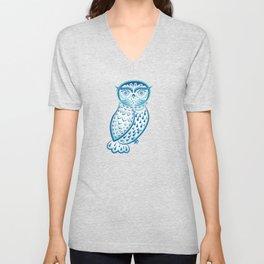 Blue ornamental owl Unisex V-Neck