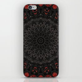 Red and Black Bohemian Mandala Design iPhone Skin