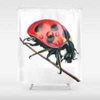 ladybug Shower Curtains featuring Ladybug by Sam Luotonen