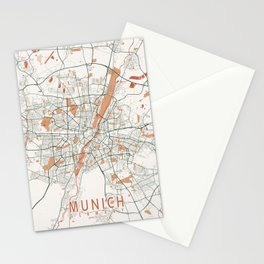 Munich City Map of Germany - Bohemian Stationery Cards