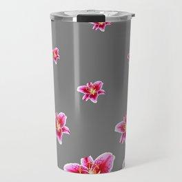 STRAWBERRY COLORED ASIAN LILIES GREY ART Travel Mug