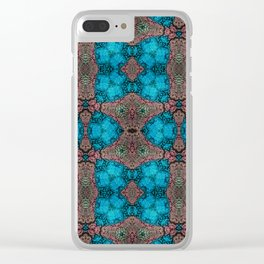 Brown and Blue Kaleidoscope Cells Clear iPhone Case