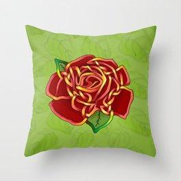 Celtic Knot Rose Throw Pillow