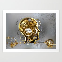 Steampunk Head with Manometer Art Print