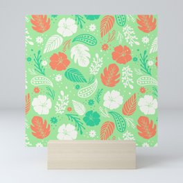 Green & Orange Tropical Foliage Pattern Mini Art Print