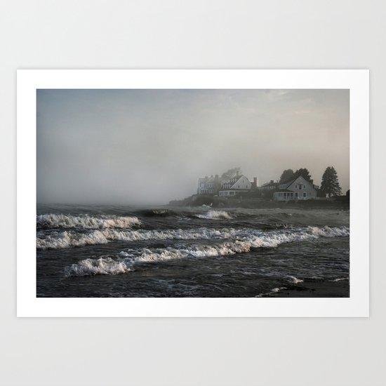 Foggy Maine Beach Art Print