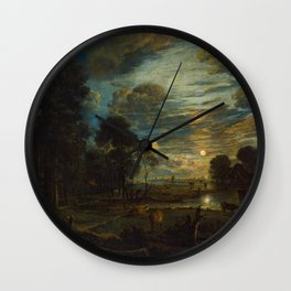 Classical Masterpiece 'Night Landscape with a River' by Aert van der Neer Wall Clock