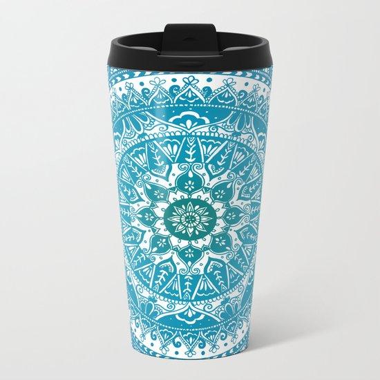 Aquamarine Mandala Pattern Metal Travel Mug