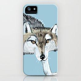 Totem Hokkaido grey wolf (Blue) iPhone Case