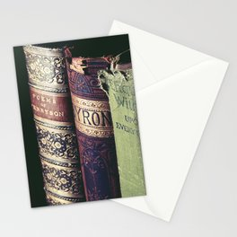 Vintage low light photography of books Stationery Cards