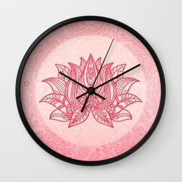 Lotus Flower Spiritual Ornament Pastel Pink Wall Clock