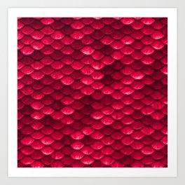 Ruby Red Mermaid Tail Scales Art Print