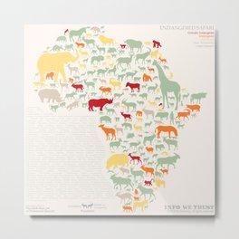 Endangered Safari - with animal names Metal Print