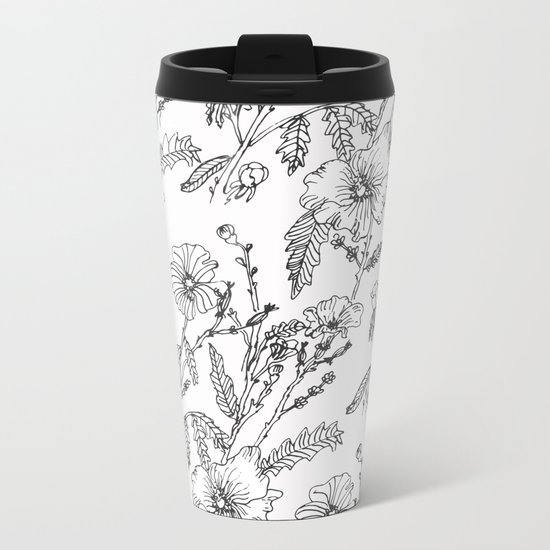 Black-White Flower Pattern Metal Travel Mug
