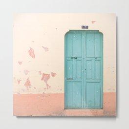 Blue Door and Pink Millennial wall, Pastel Retro Metal Print
