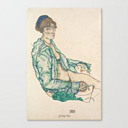 "Egon Schiele ""Sitting Semi-Nude with Blue Hairband"" Canvas Print"