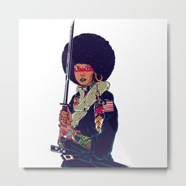 Afro Woman Katana Metal Print