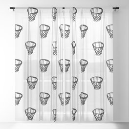 Basketball Motif Print Pattern Sheer Curtain