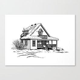 Winter Cottage Ink Canvas Print