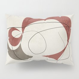 Minimalist Abstract Art Shapes - Scribbles Earth Red 1 Pillow Sham