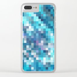 geometric square pixel pattern abstract in blue Clear iPhone Case