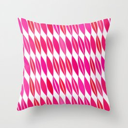 Mid Century Modern Leaves, Coral Pink and White Throw Pillow