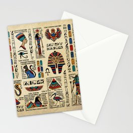 Egyptian hieroglyphs and deities on papyrus Stationery Cards