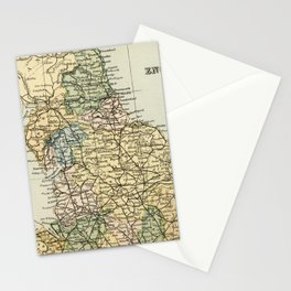 North England and Wales Vintage Map Stationery Cards