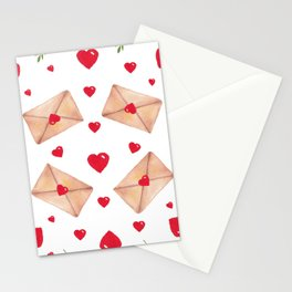 Heart, envelopes and red flowers on a white seamless background Stationery Cards