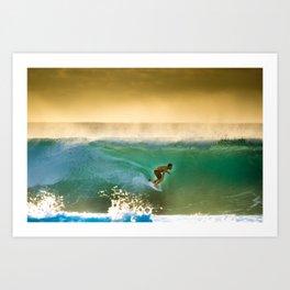 Ricardo Dos Santos, Sunset surfing on North Shore Hawaii  Art Print