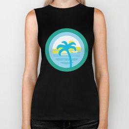 Ocean Beach Palm Tree Sun Retro Vintage design Biker Tank