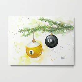 Billiard Pool Balls Christmas Ornaments 8-Ball 9-Ball Metal Print