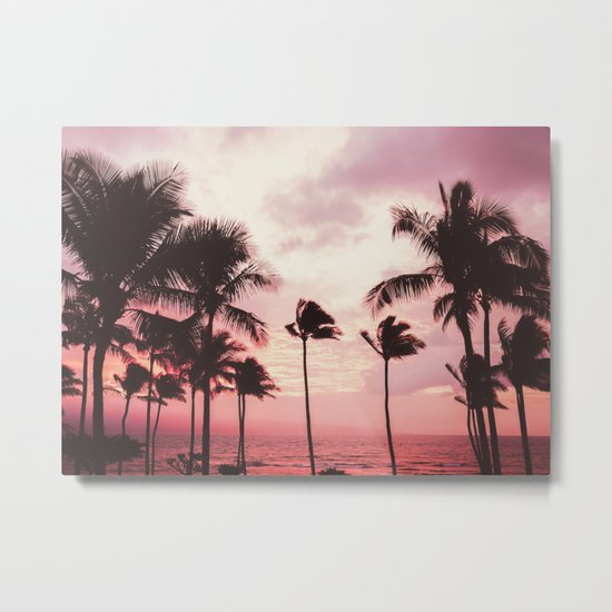 Tropical Palm Tree Pink Sunset Metal Print