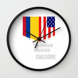 50% Colombian 50% American 100% Awesome Wall Clock