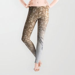 Bronze Copper Gold Glitter White Gray Marble Concrete Luxury V Leggings