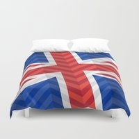 uk Duvet Covers featuring UK Flag by m. arief (mochawalk)