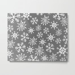 Snowflakes Pattern (Light Gray) Metal Print