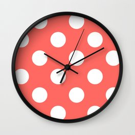 Large Polka Dots - White on Pastel Red Wall Clock