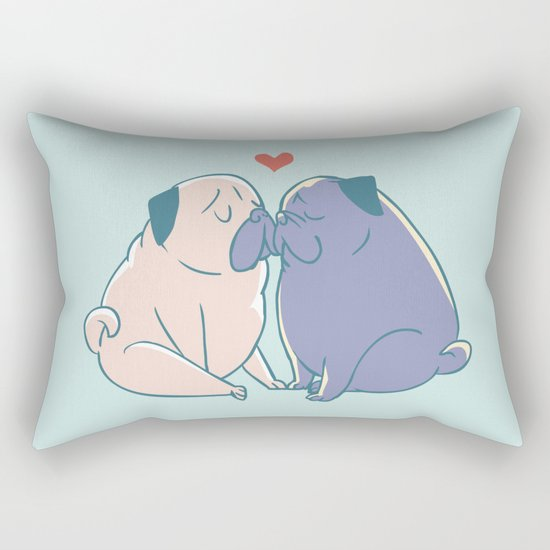Pugs and Kisses Rectangular Pillow