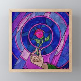 Enchanted Rose Stained Glass Framed Mini Art Print