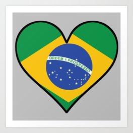 Brazilian Flag Heart Art Print