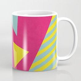 Pink Turquoise Geometric Pattern in Pop Art, Retro, 80s Style Coffee Mug