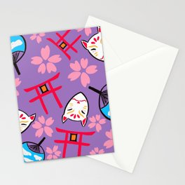 Japan Anime Shinto Shrine cat uchiwan fan and Cherry Blossoms Pattern Stationery Cards