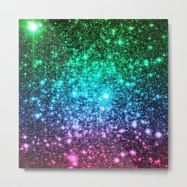 glitter Cool Tone Ombre (green blue purple pink) Metal Print